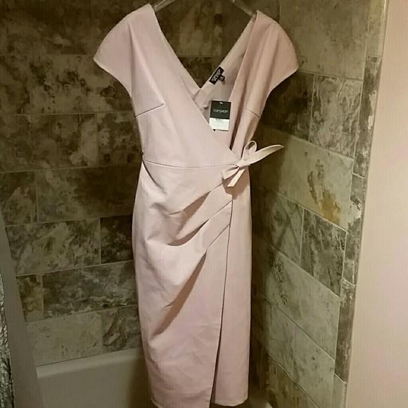 4718526e47c0b Topshop Dresses | Nwt Light Pink Fauk Leather Wrap Dress 4 | Poshmark
